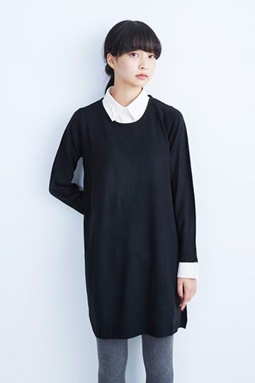 pilvee 取り外しできるはんぱ衿付きニットワンピース <ブラック×ホワイト>の商品写真