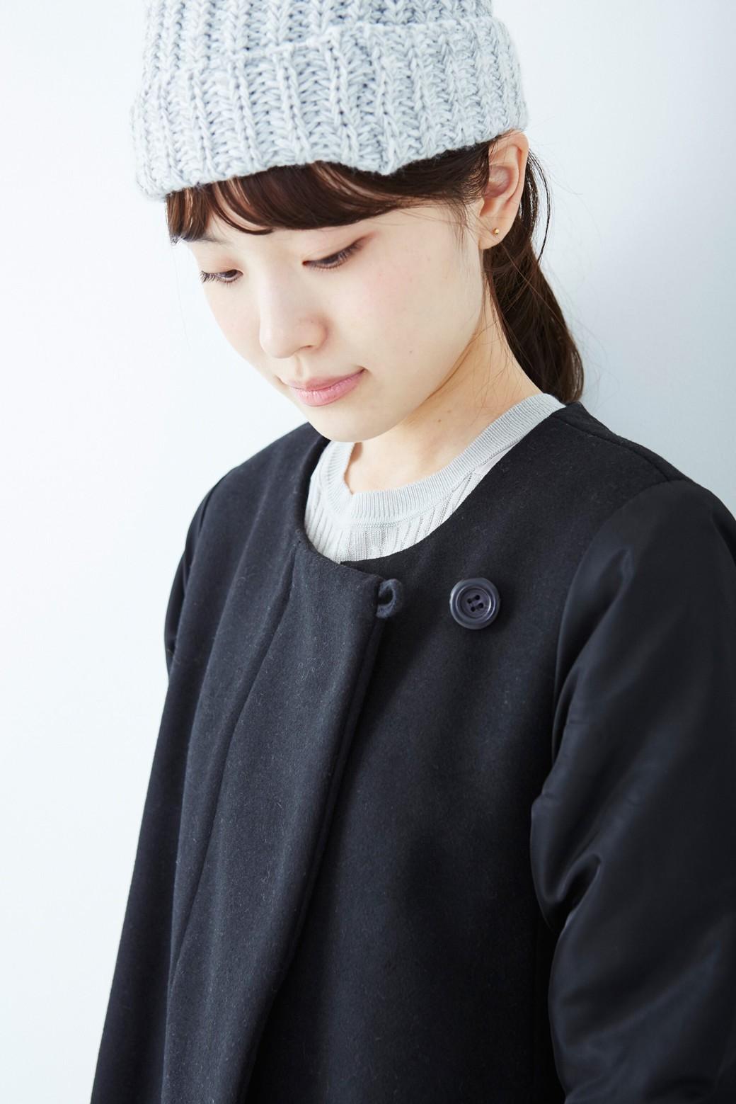 SHE THROUGH SEA #カラス色のノーカラーモッズコート <ブラック>の商品写真8
