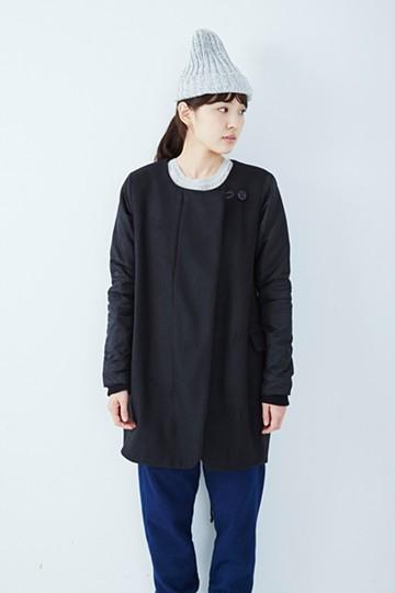 SHE THROUGH SEA #カラス色のノーカラーモッズコート <ブラック>の商品写真