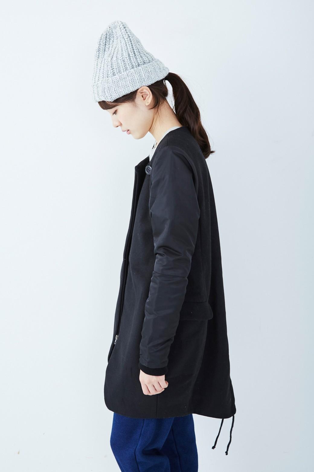SHE THROUGH SEA #カラス色のノーカラーモッズコート <ブラック>の商品写真9