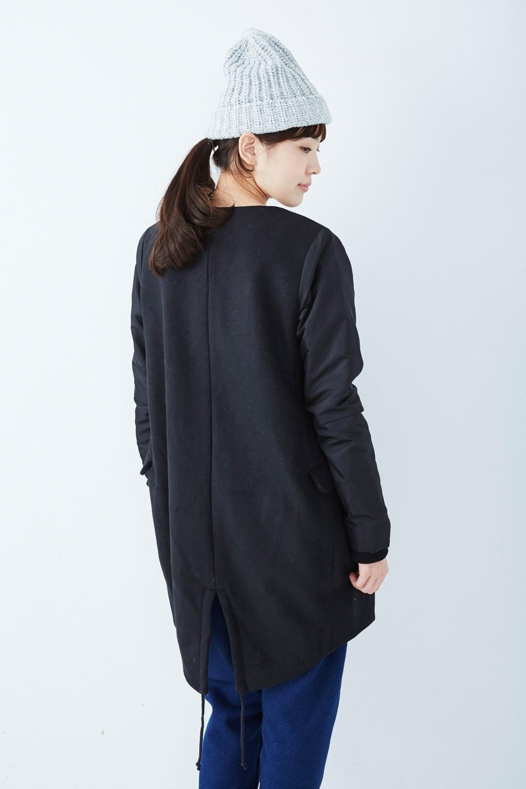 SHE THROUGH SEA #カラス色のノーカラーモッズコート <ブラック>の商品写真10