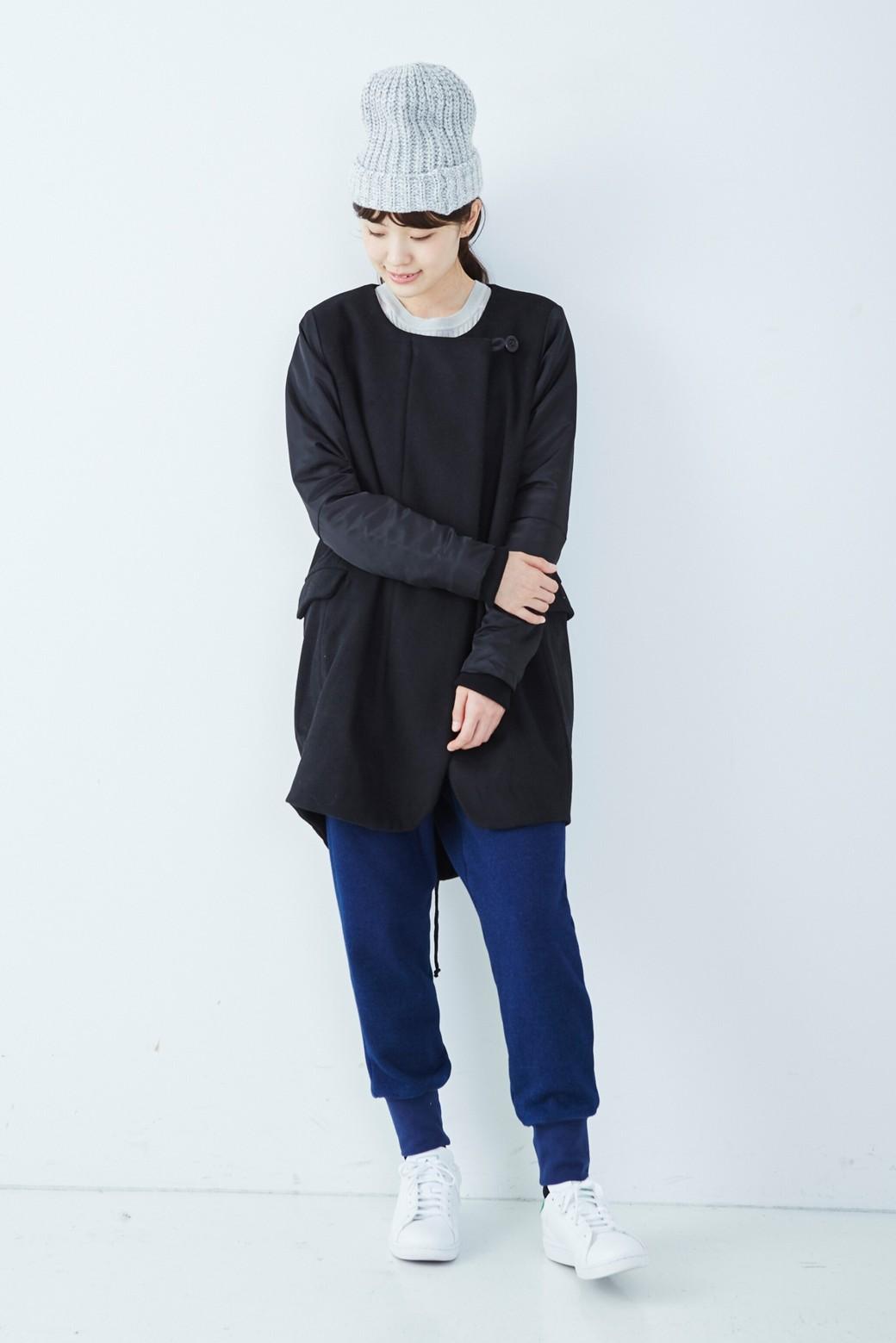 SHE THROUGH SEA #カラス色のノーカラーモッズコート <ブラック>の商品写真7