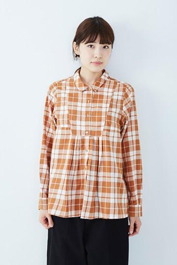 nusy ひらりシルエットが自慢のチェックシャツ <ブラウン>の商品写真