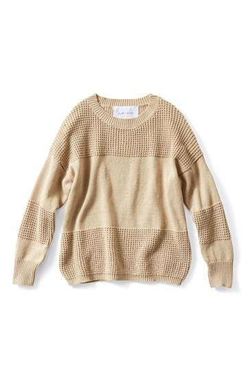 エムトロワ ワッフル編みがかわいいショートニット <ベージュ>の商品写真