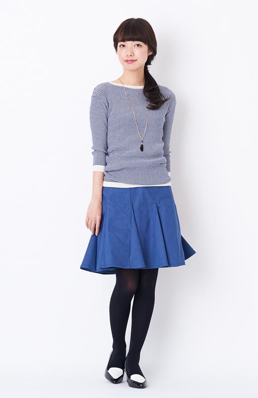 エムトロワ すそがオリガミみたいなペプラムスカート <ダークブルー>の商品写真4