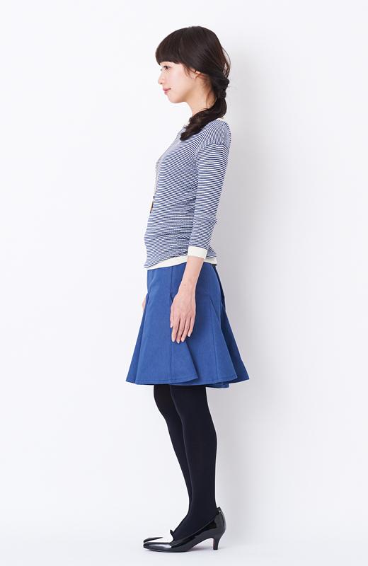 エムトロワ すそがオリガミみたいなペプラムスカート <ダークブルー>の商品写真5