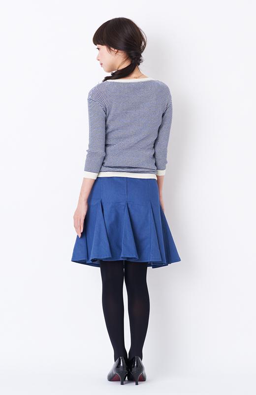 エムトロワ すそがオリガミみたいなペプラムスカート <ダークブルー>の商品写真6
