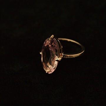 haco! てとひとて×tamara ヴィンテージスワロフスキー(R)・クリスタルリング 爪留め <ライトアメジスト×ピンクゴールド>の商品写真