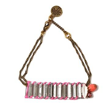 haco! てとひとて LATONKINOISE à Paris Bracelet vintage chain and fluo yarn <ピンク×レッド>の商品写真