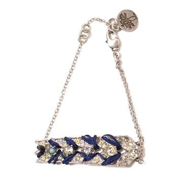 haco! てとひとて LATONKINOISE à Paris Bracelet vintage chain and fluo yarn <ネイビー×ライトブルー>の商品写真