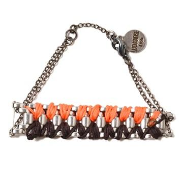 haco! てとひとて LATONKINOISE à Paris Bracelet vintage chain and fluo yarn <シルバー×ブラウン×コーラル>の商品写真