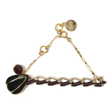 haco! てとひとて LATONKINOISE à Paris Bracelet vintage chain and fluo yarn <ブラウン×ブラック>の商品写真