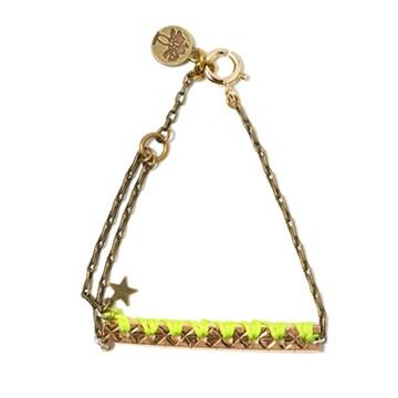 haco! てとひとて LATONKINOISE à Paris Bracelet vintage chain and fluo yarn <アンティークゴールド×イエロー>の商品写真