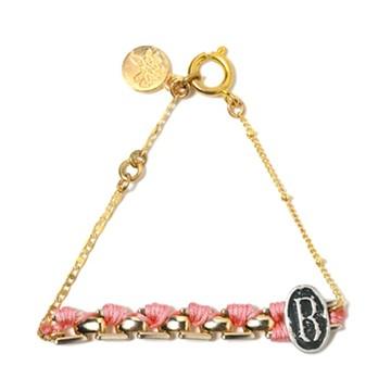 haco! てとひとて LATONKINOISE à Paris Bracelet vintage chain and fluo yarn <ライトピンク×ブラック>の商品写真
