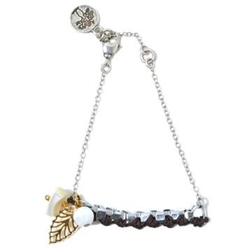 haco! てとひとて LATONKINOISE à Paris Bracelet vintage chain and fluo yarn <ブラウン×ホワイト>の商品写真