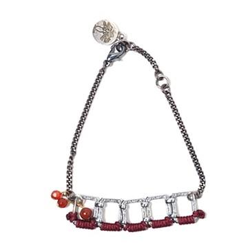 haco! てとひとて LATONKINOISE à Paris Bracelet vintage chain and fluo yarn <シルバー×ボルドー>の商品写真