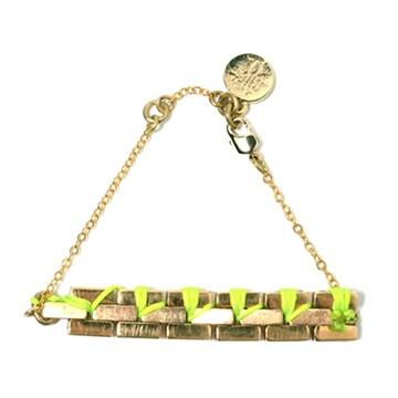 haco! てとひとて LATONKINOISE à Paris Bracelet vintage chain and fluo yarn <イエロー×ゴールド>の商品写真