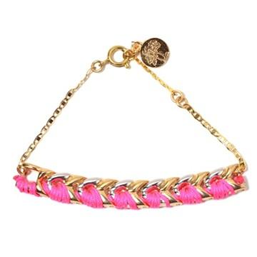 haco! てとひとて LATONKINOISE à Paris Bracelet vintage chain and fluo yarn <ゴールド×ピンク×シルバー>の商品写真