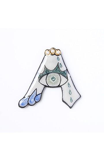 haco! てとひとて arie:chroma アルファベットブローチA <ホワイト×ブルー>の商品写真