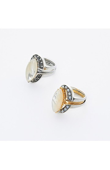 haco! てとひとて×Miss bibi RING IN THE OTHER ONE ホワイト <白蝶貝>の商品写真