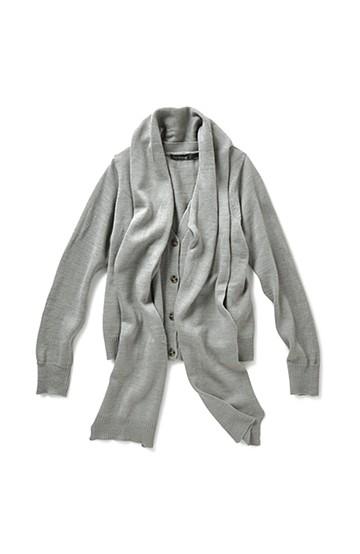 リス クロース ストール付きウール混ゆったりカーディガン <グレー>の商品写真