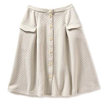 pilvee フロントボタンのぽんわりミディアム丈スカート <ライトグレイ>の商品写真