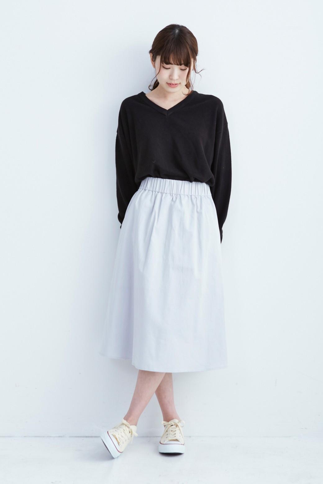 haco! ミモレ丈のフレアースカート by que made me <ライトグレー>の商品写真3