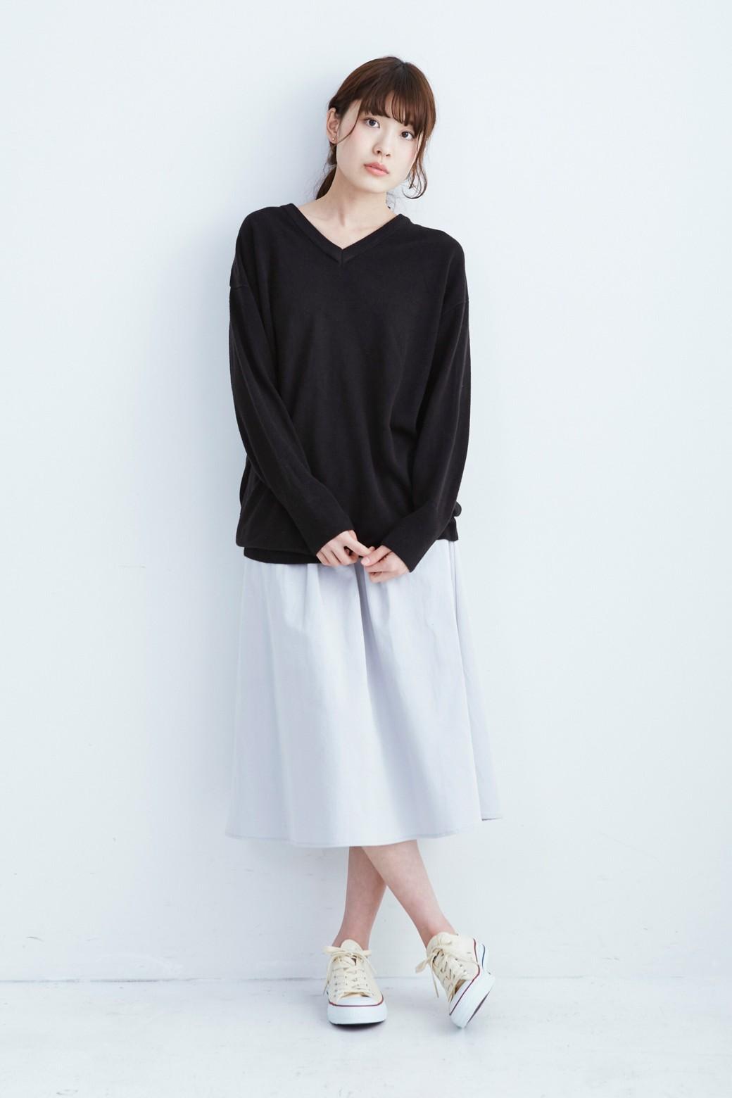 haco! ミモレ丈のフレアースカート by que made me <ライトグレー>の商品写真4