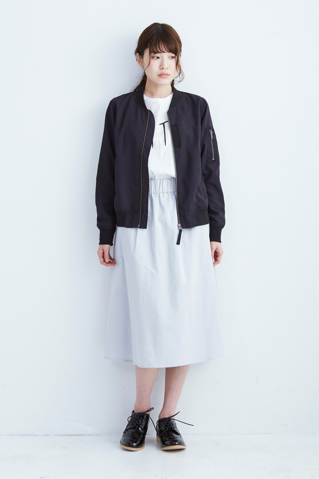 haco! ミモレ丈のフレアースカート by que made me <ライトグレー>の商品写真6