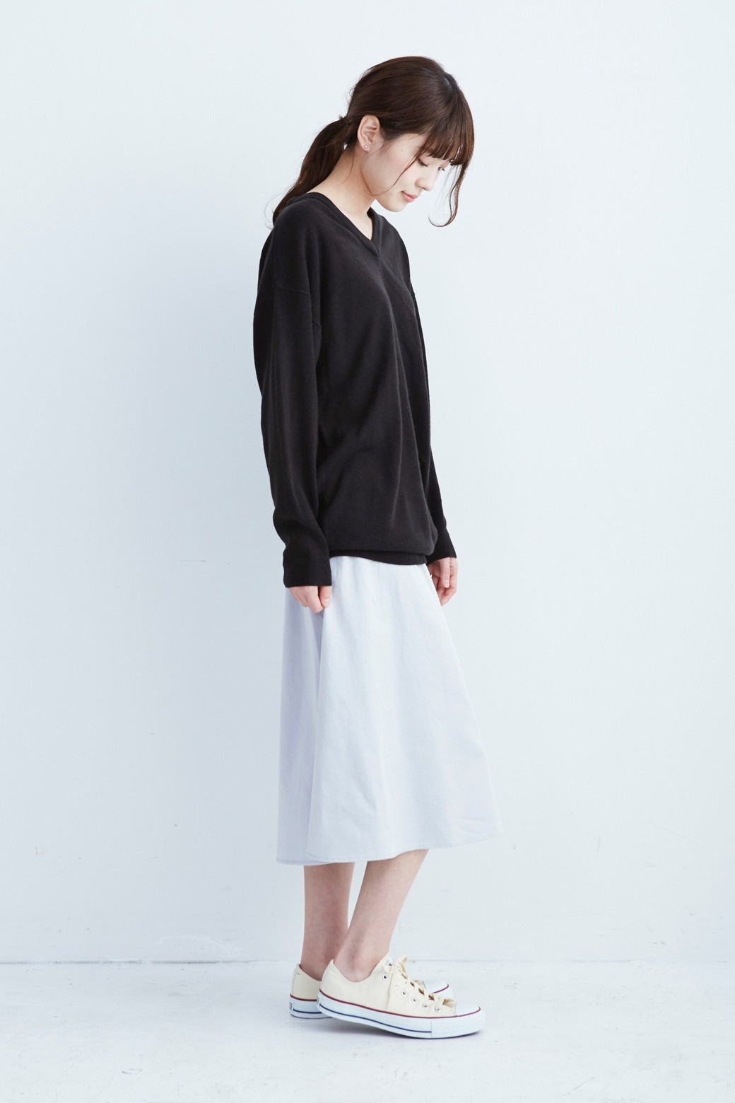 haco! ミモレ丈のフレアースカート by que made me <ライトグレー>の商品写真7