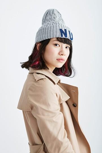 nusy ワッペン付きニット帽 <グレー>の商品写真