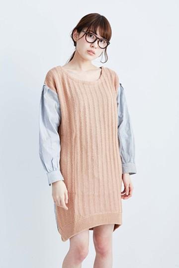 pilvee まじめなシャツと柄編みニットのまぜこぜワンピース <ベージュ>の商品写真