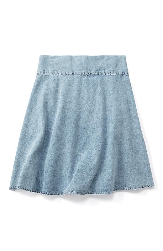 haco! haco.FACTORY ひらりと舞う洗いのかかったデニムスカート <サックスブルー>の商品写真2