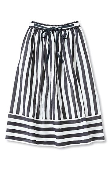 nusy ストライプ×ボーダーの切り替えミモレ丈スカート <ネイビー>の商品写真
