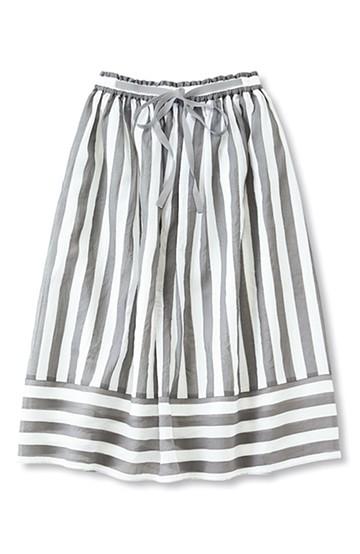nusy ストライプ×ボーダーの切り替えミモレ丈スカート <グレー>の商品写真