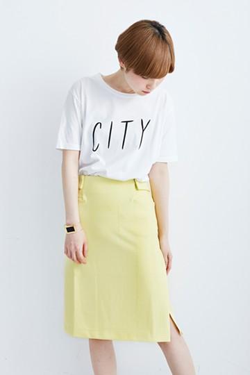 エムトロワ カラフルストレートカットソータイトスカート <イエロー>の商品写真