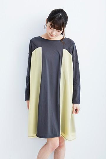 pilvee さんかくピコ袖のカットソーとシフォンのメルティングワンピ <ネイビー>の商品写真