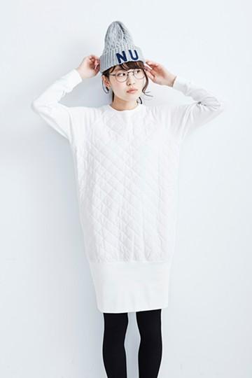 SHE THROUGH SEA #裏毛×キルトドッキングミニワンピ <ホワイト>の商品写真