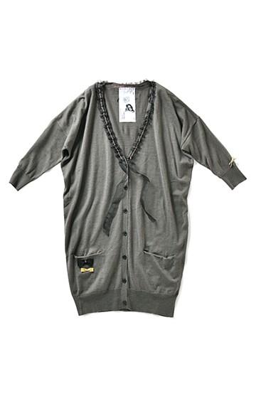 haco! G.N.P 東北のお母さんのあたたかな手作業 リボン刺しゅうのカーディガン:ネイビー×ブラック <グレー>の商品写真