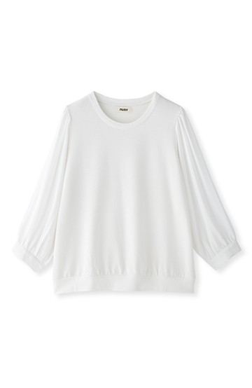 nusy 透け感のある袖がかわいい異素材切り替えトップス <オフホワイト>の商品写真