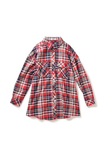 nusy ツーウェイのカラフルチェックのシャツ <レッド系その他>の商品写真
