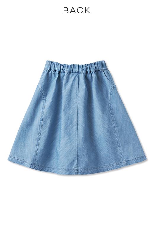 nusy フレアーがキュートなデニムスカート <ライトブルー>の商品写真2