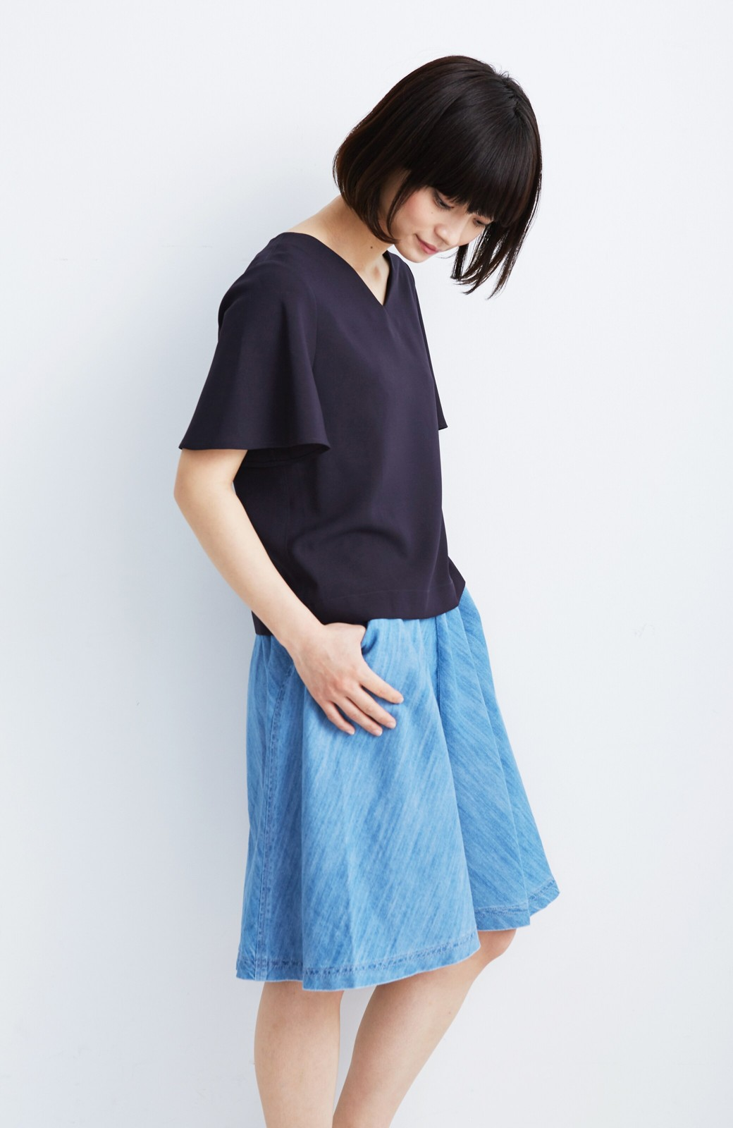 nusy フレアーがキュートなデニムスカート <ライトブルー>の商品写真5