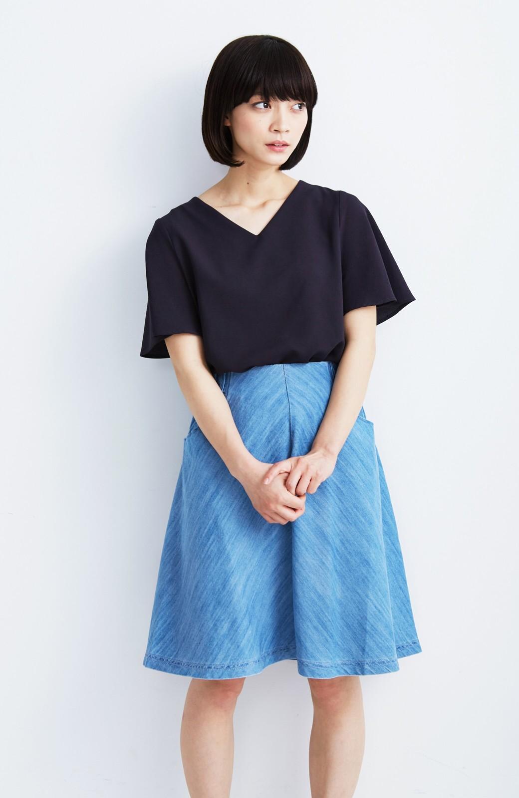 nusy フレアーがキュートなデニムスカート <ライトブルー>の商品写真7