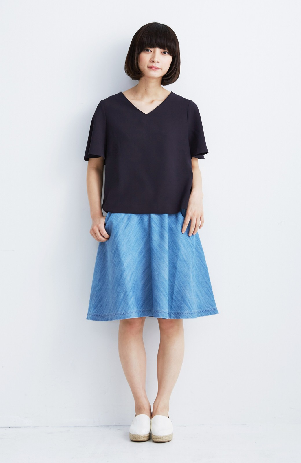 nusy フレアーがキュートなデニムスカート <ライトブルー>の商品写真3