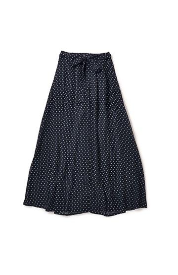 nusy ドット柄2WAYマキシスカート <ネイビー>の商品写真
