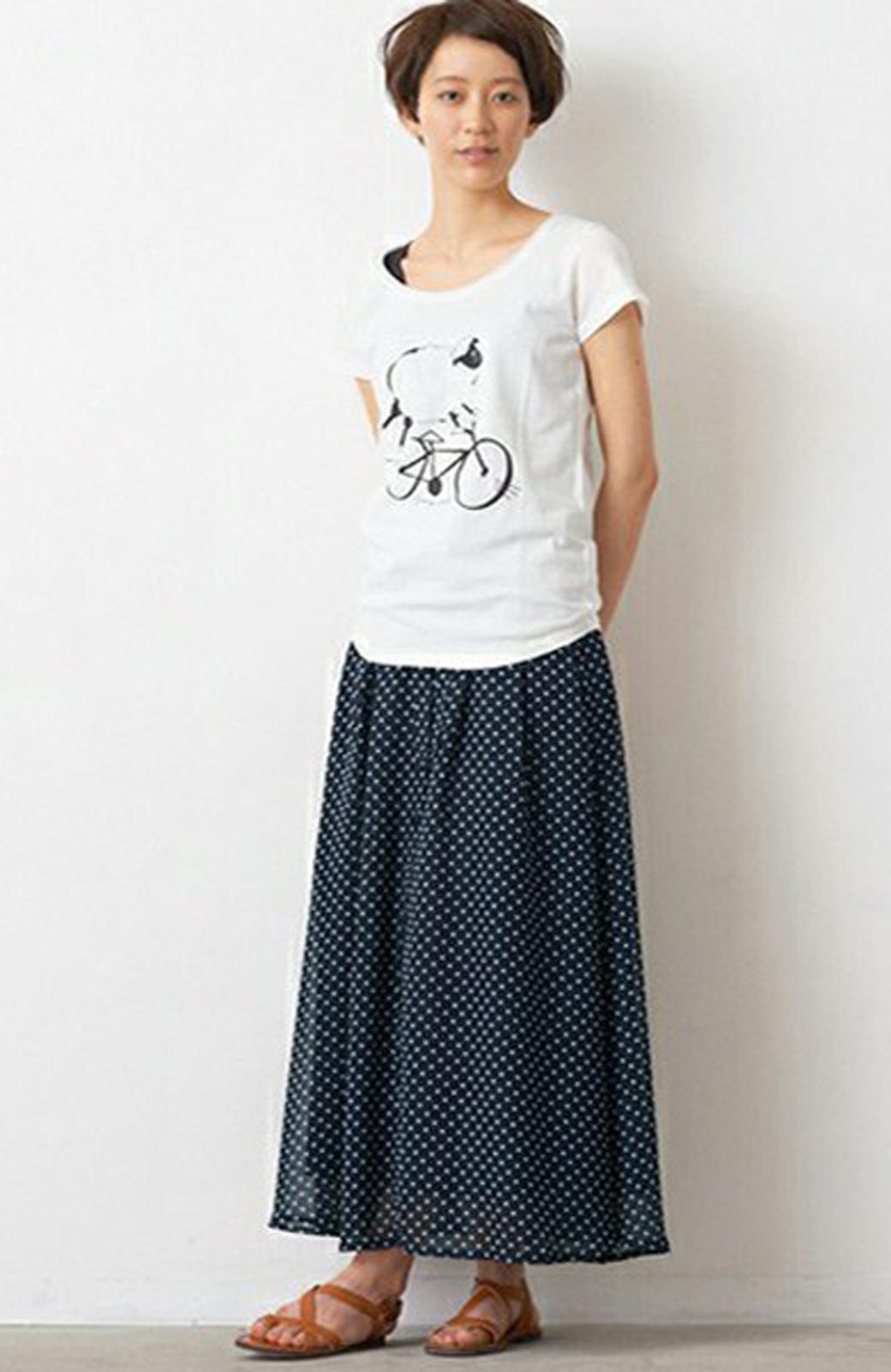 nusy ドット柄2WAYマキシスカート <ネイビー>の商品写真2
