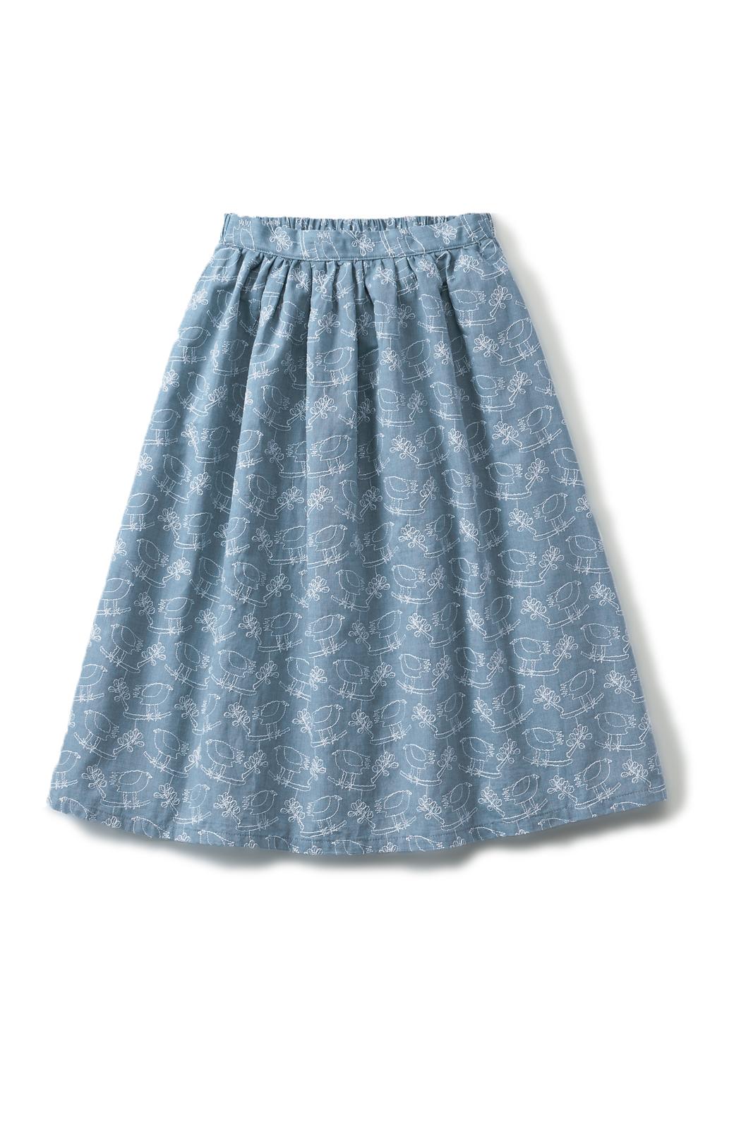 haco! UNICOLART OHTA KOSUKE 鳥と葉っぱ 総刺しゅう布のスカート <ブルー>の商品写真2