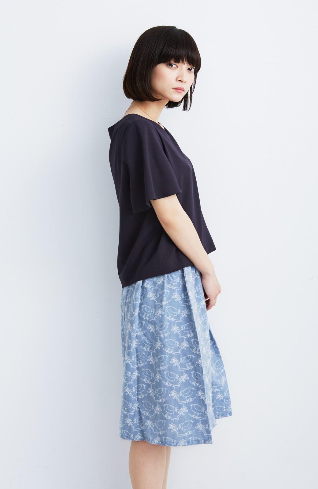haco! UNICOLART OHTA KOSUKE 鳥と葉っぱ 総刺しゅう布のスカート <ブルー>の商品写真6