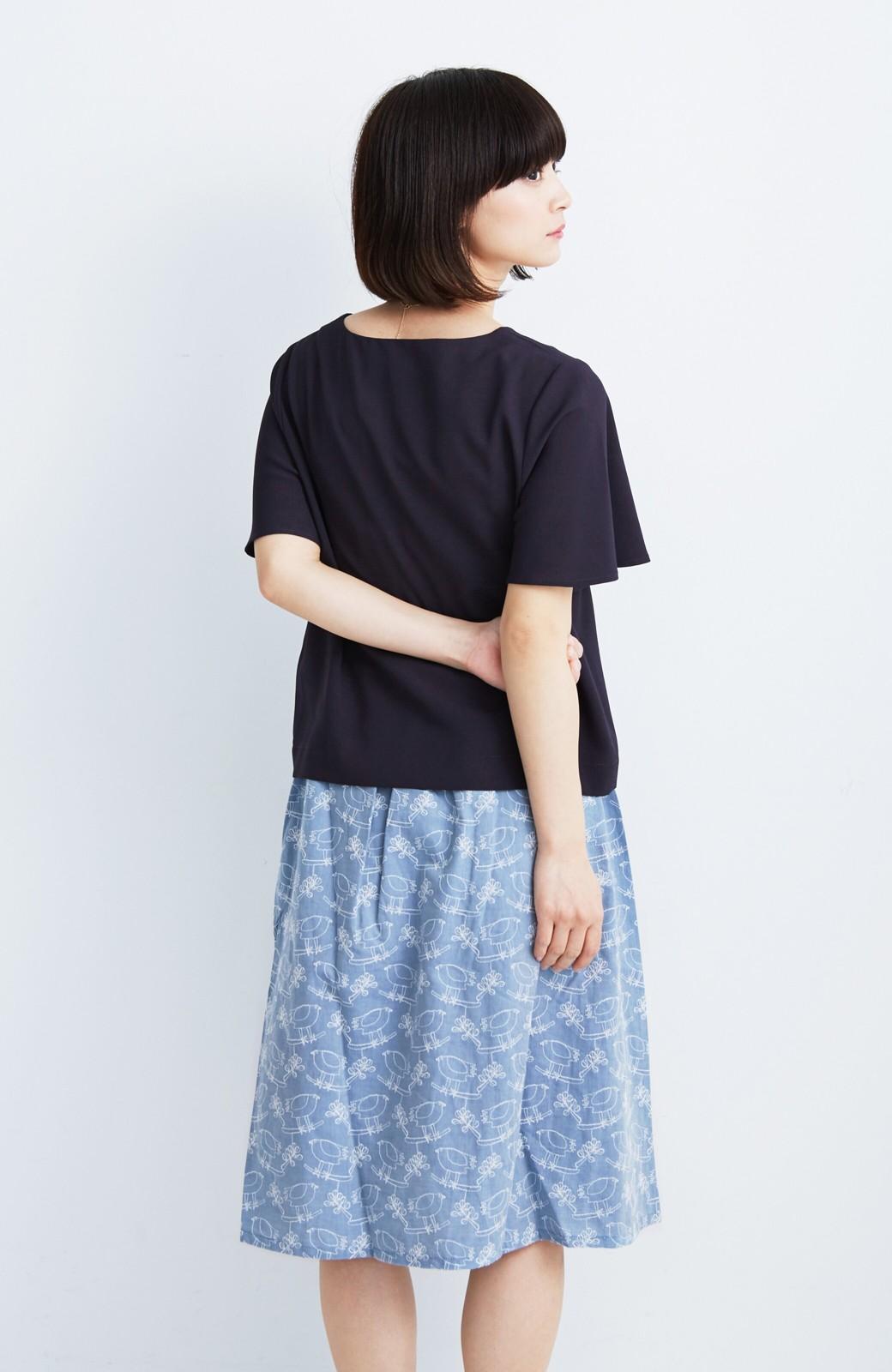 haco! UNICOLART OHTA KOSUKE 鳥と葉っぱ 総刺しゅう布のスカート <ブルー>の商品写真7